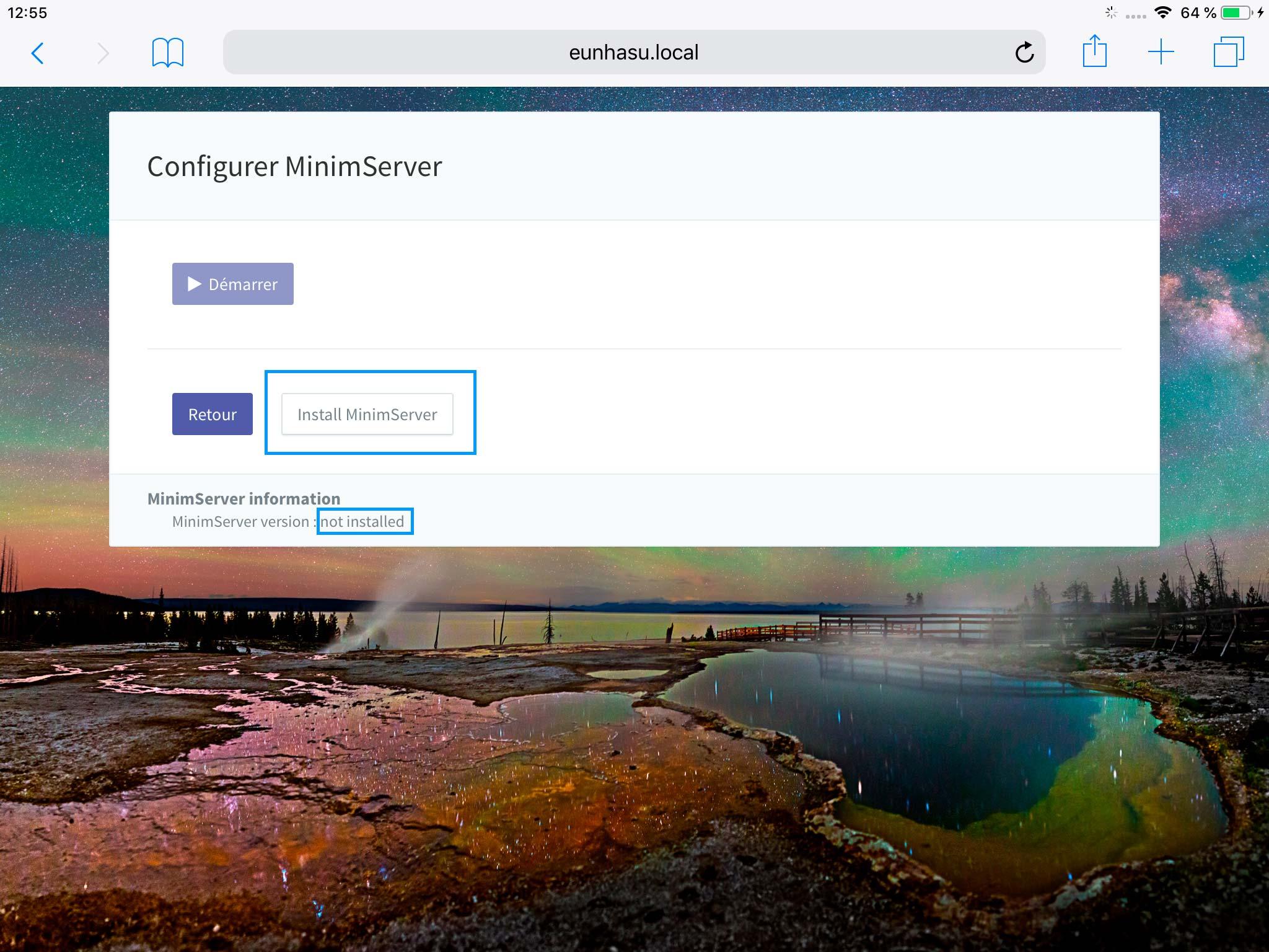 Pour l'installation du serveur UPnP / DLNA MinimServer sur le lecteur SOtM sMS-200
