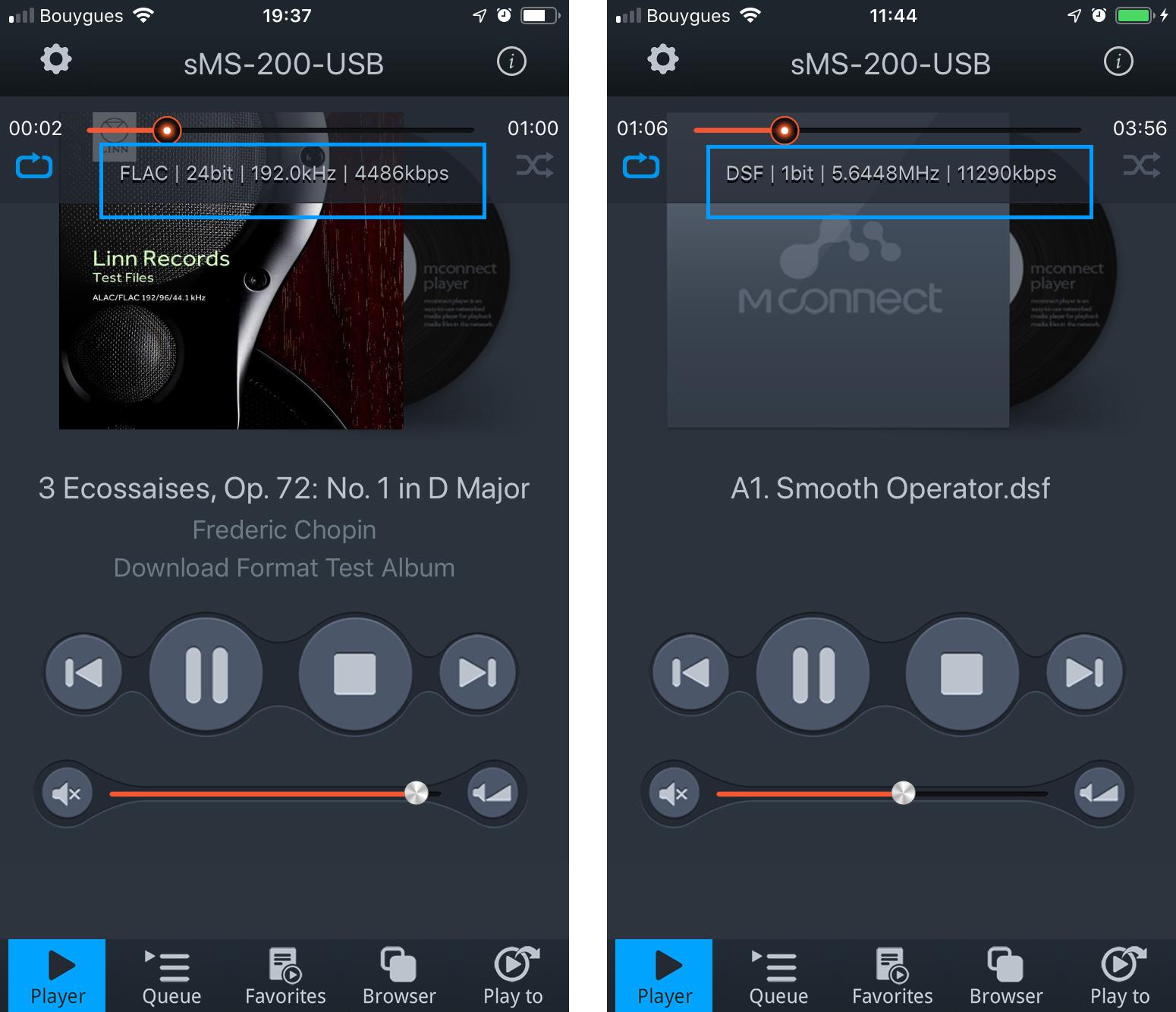 L'application mconnect player affiche les débits et les taux d'échantillonnage des fichiers en cours de lecture sur le SOtM sMS-200 Ultra
