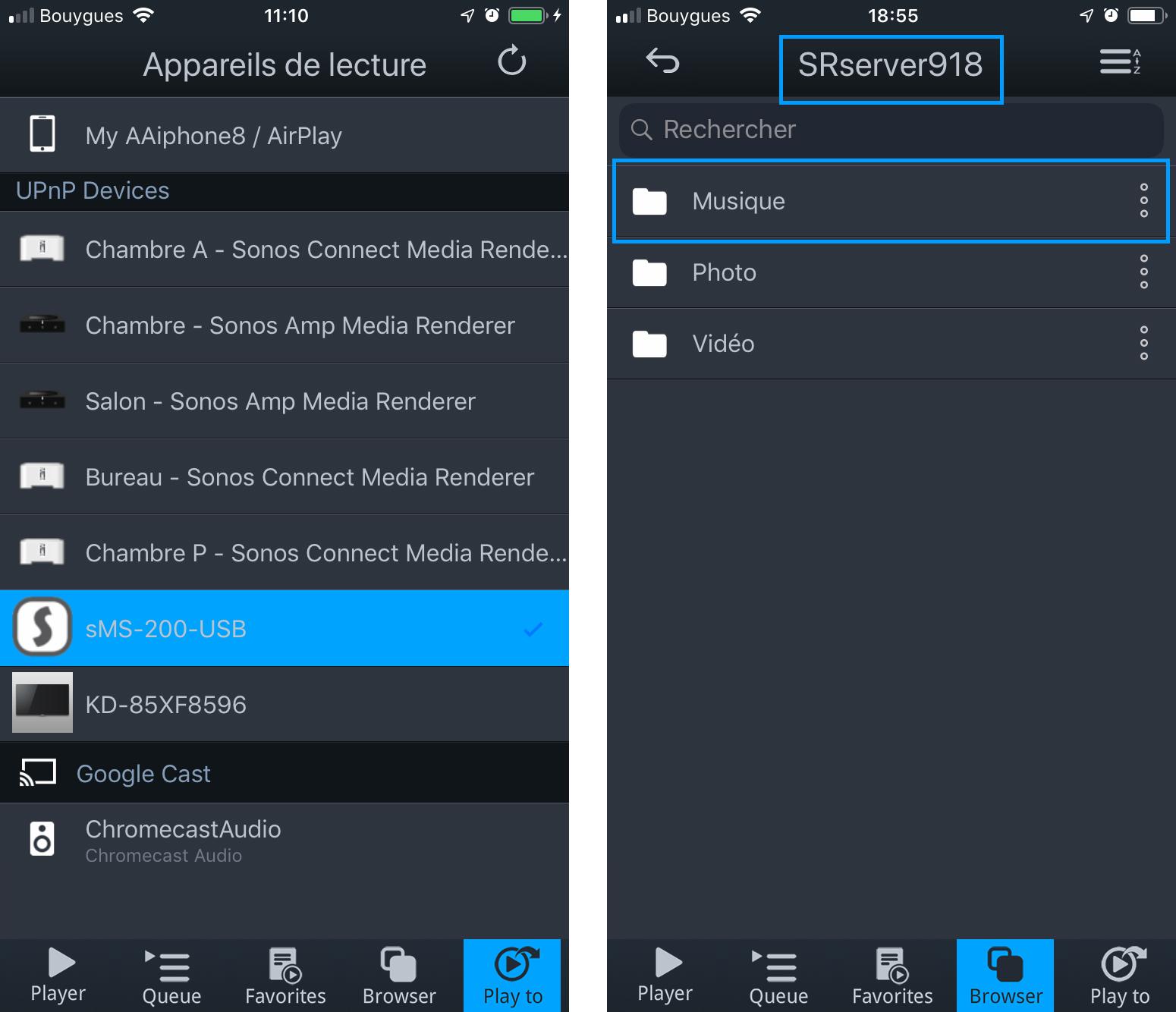 Utilisation du SOtM en lecteur UPnP / DLNA avec un serveur de fichiers audio