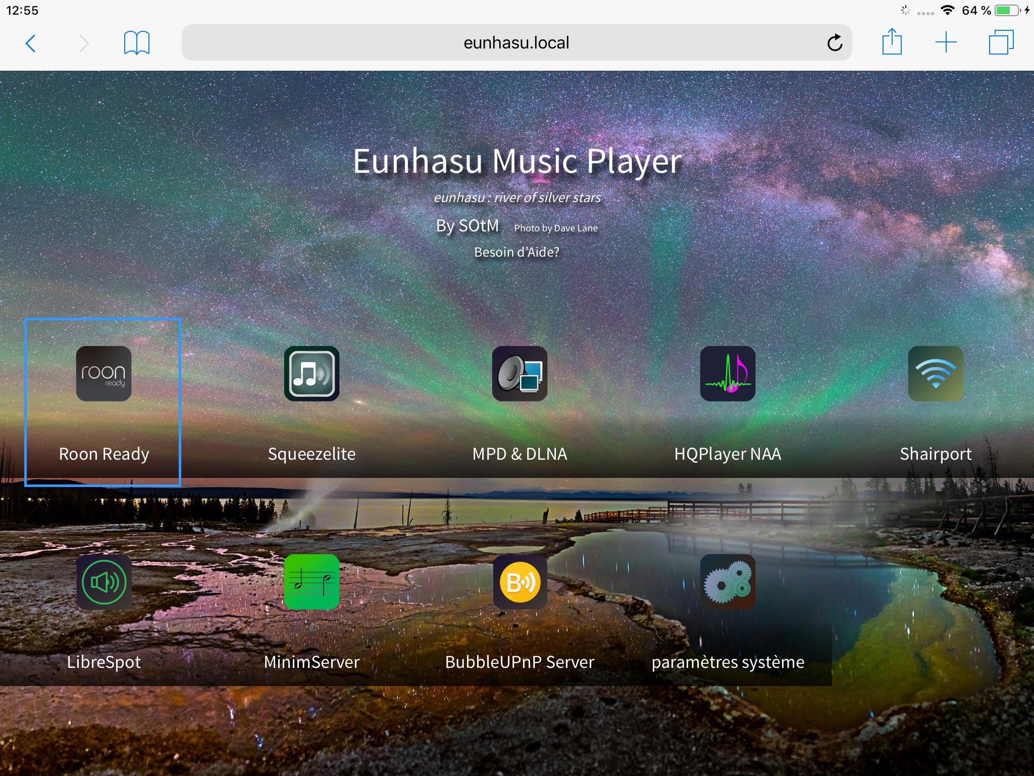 L'interface Web Eunhasu du SOtM sMS-200 pour la configuration du mode de lecture