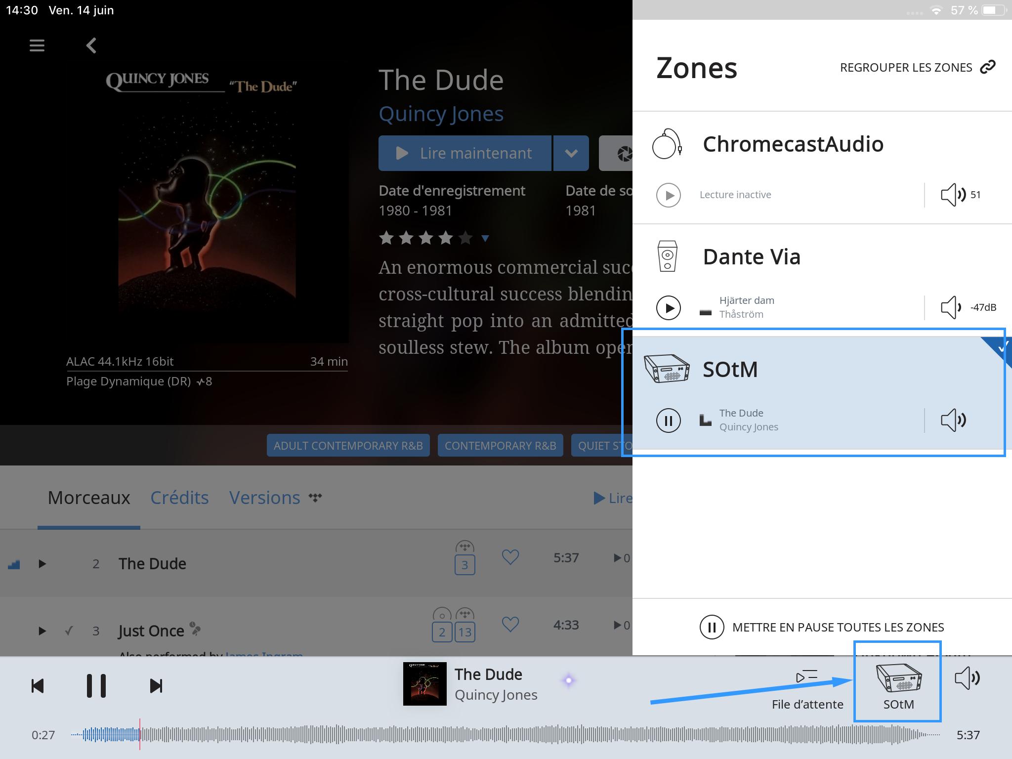 La liste de mes lecteurs Roon sur mon réseau. Avec le SOtM sMS-200 Ultra en volume sonore fixe.