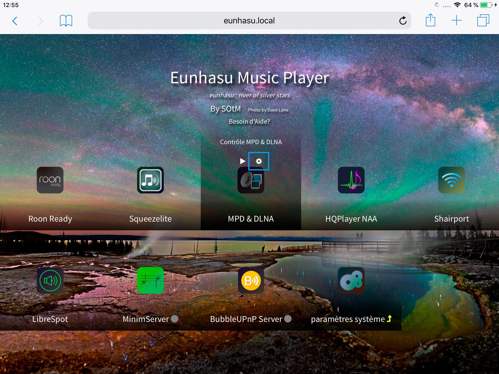 Accès aux réglages de MPD via l'interface Web Eunhasu.