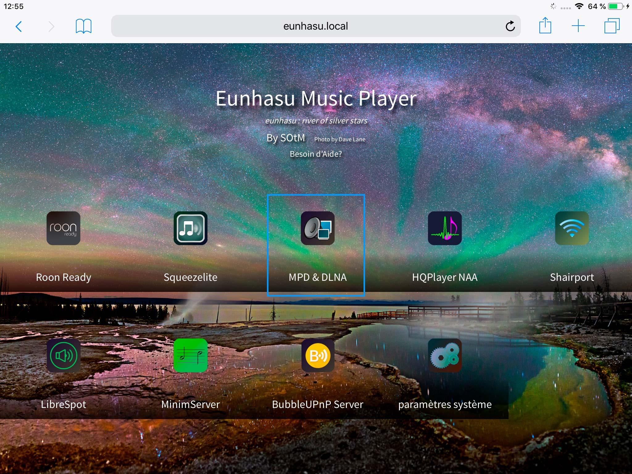 Eunhasu: l'interface Web de paramétrage du lecteur SOtM sMS-200 Ultra