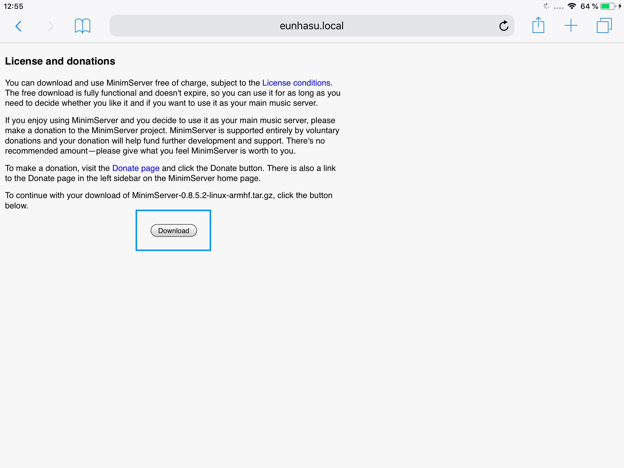 Pour télécharger la version complète de MinimServer sur le lecteur SOtM sMS-200