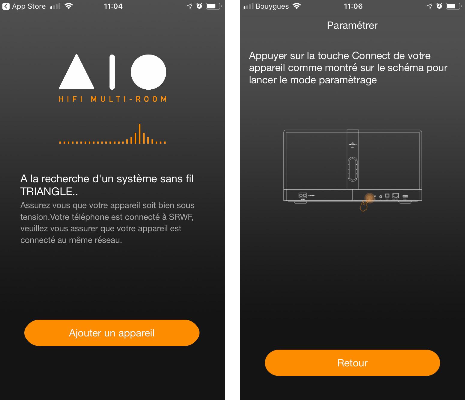 A l'ouverture, l'application recherche une enceinte Triangle AIO. J'appuie sur «ajouter un appareil», puis l'écran suivant m'indique où lancer la synchronisation sur l'enceinte.