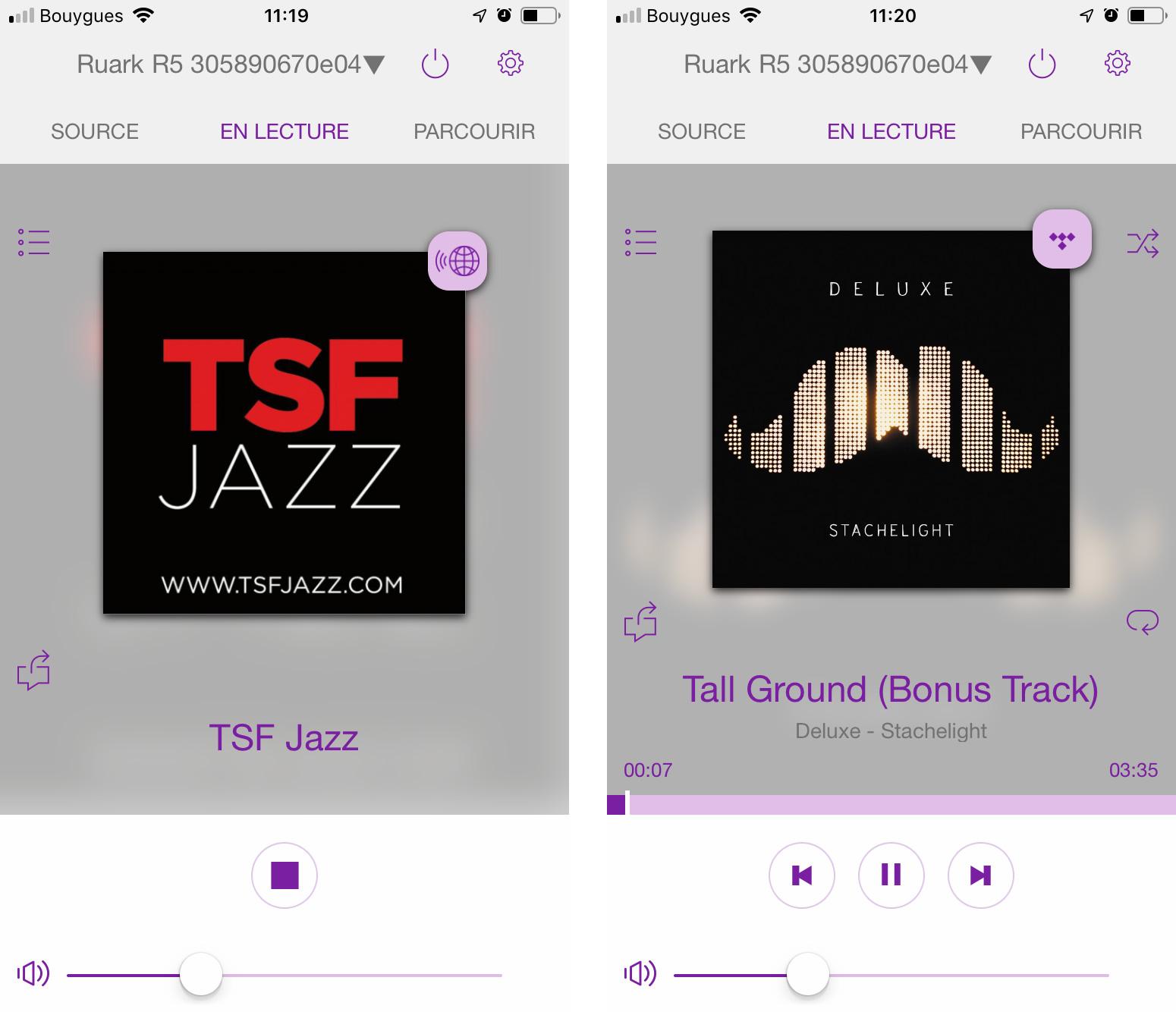 Le logo de la radio accompagne l'écoute (à gauche). Lors des écoutes en streaming, j'ai toutes les informations de lecture et la jaquette de l'album (à droite).
