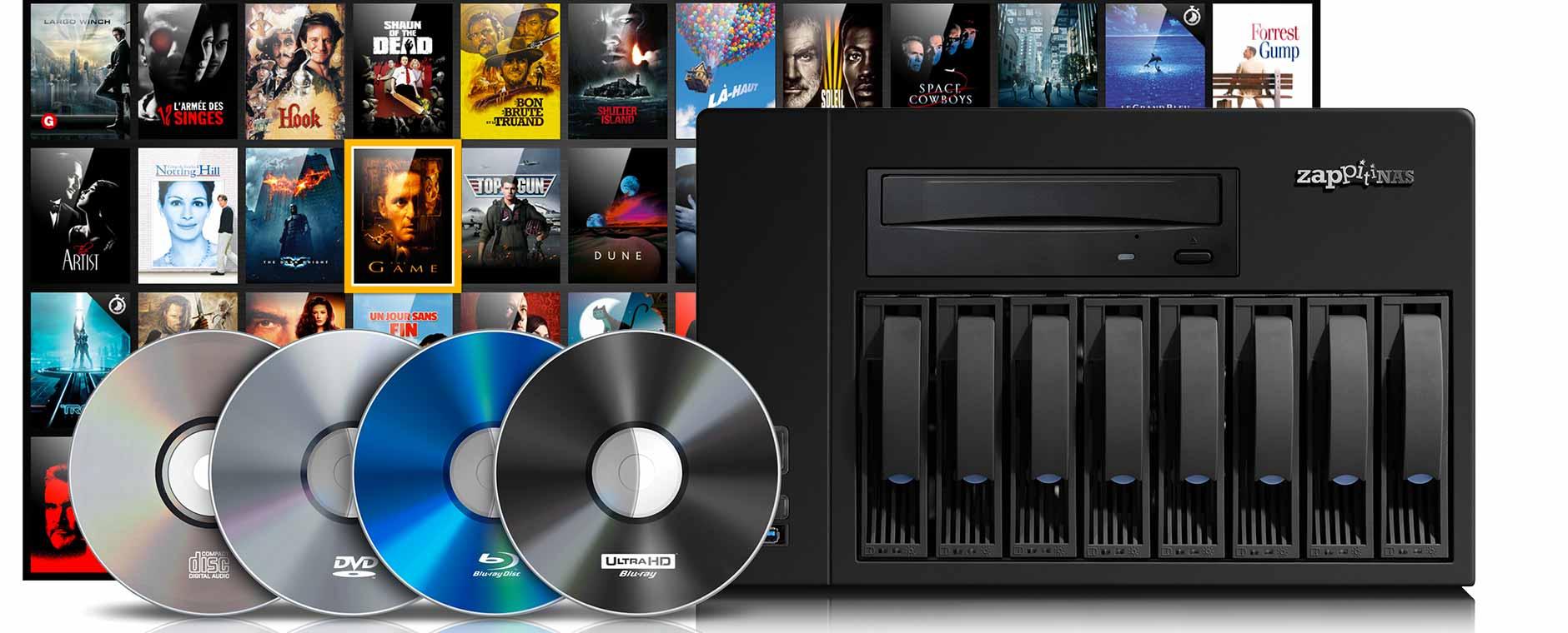 Avec un serveur multimédia, vous copiez tous vos disques CD, DVD, Blu-ray HD / 4K. Ils sont alors classés dans une audiothèque et vidéothèque, pour tous les écrans TV de la maison