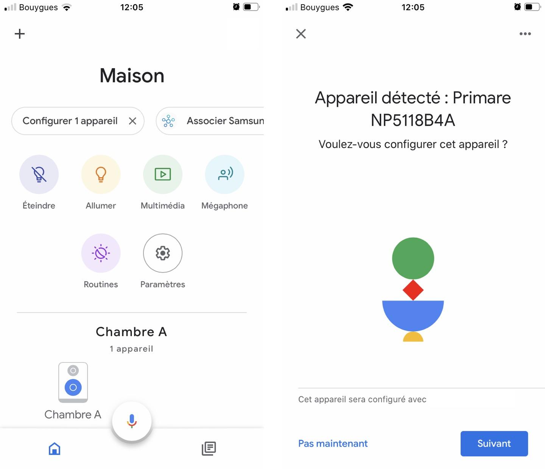 Le bouton «Configurer 1 appareil» signifie que l'application Google Home a trouvé un nouvel appareil sur mon réseau, le Primare NP5 en l'occurrence.