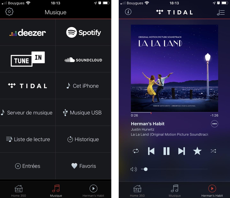 L'écran « Musique » présente toutes les sources accessibles. L'écran « Lecture » permet de contrôler le flux en cours, de gérer le volume, de mettre le titre en favori, etc.