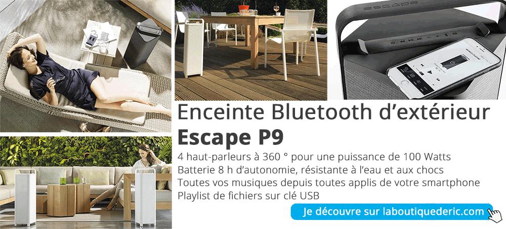 Enceinte d'extérieur Bluetooth pour la terrasse, la piscine, le jardin. Puissance de 100 Watts, 4 HP à 360 °, résistance à l'eau et aux chocs - Escape P9