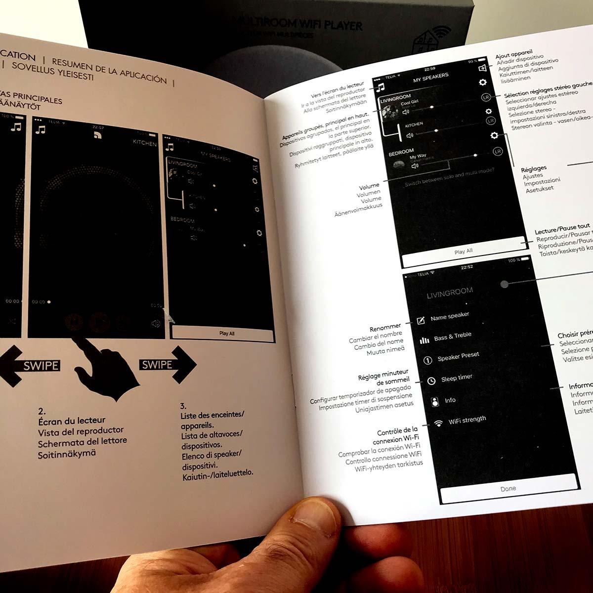 Mode d'emploi en version français et sur support papier fourni pour le lecteur Audio Pro Link 1
