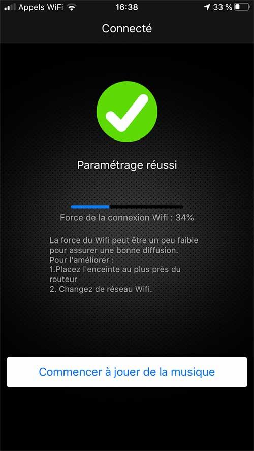 Le lecteur Audio Pro Link 1 indique la qualité et la puissance du réseau WiFi reçu à son emplacement