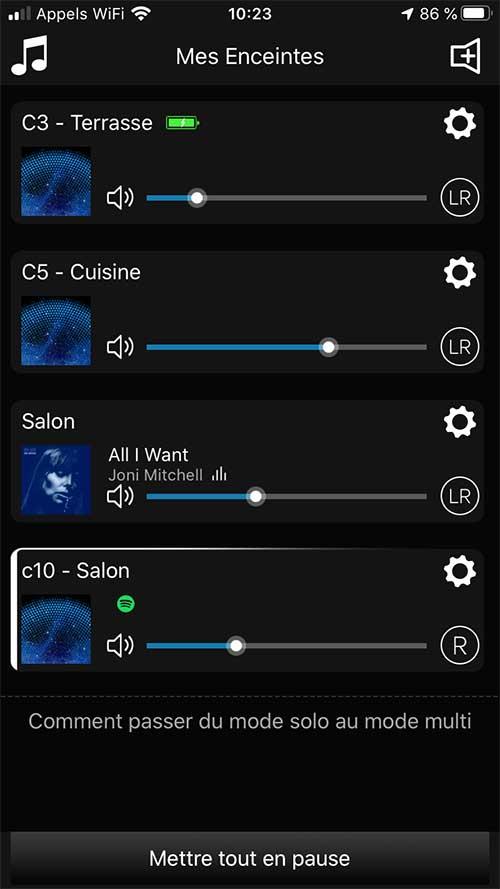 La liste de tous les produits Audio Pro : enceintes connectées et lecteurs réseau audio présents sur le réseau. Contrôle par la fonction multiroom audio de la marque