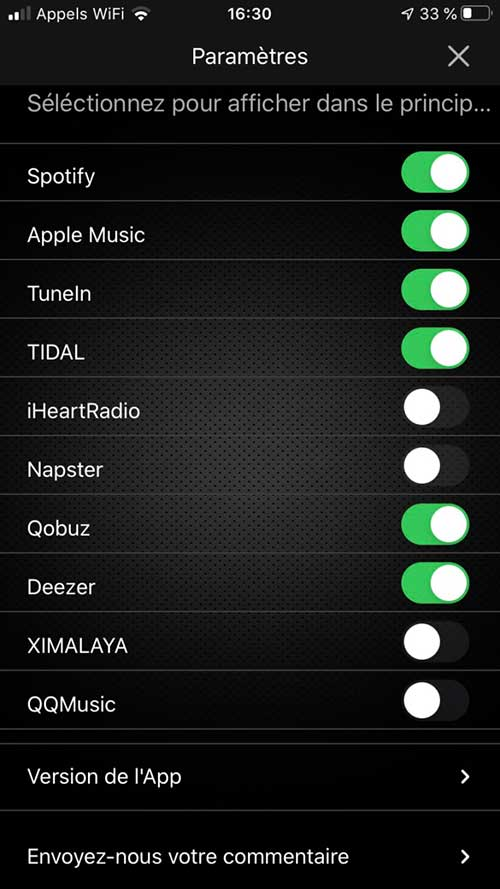 Tous les services de musique en ligne disponibles, avec activation / désactivation dans l'interface de commande du lecteur Audio Pro Link 1
