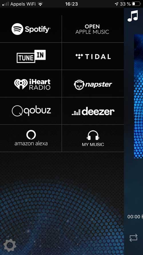 Choix de la source musicale : Deezer, Qobuz, Spotify, Tidal, Radio Internet TuneIn