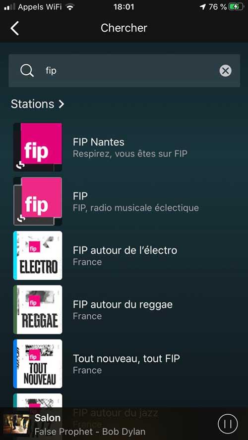 Moteur de recherche des radios Internet directement dans l'application smartphone ou tablette, avec gestion des stations radio favorites