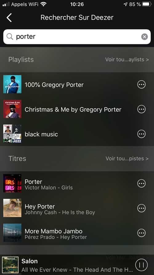 L'application Audio Pro donne accès au moteur de recherche Deezer pour trouver un artiste, un album, une piste ou encore une playlist.