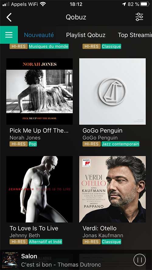Tout le catalogue Qobuz accessible sur l'appli Audio Pro pour une écoute directe sur la chaine HiFi par le WiFi