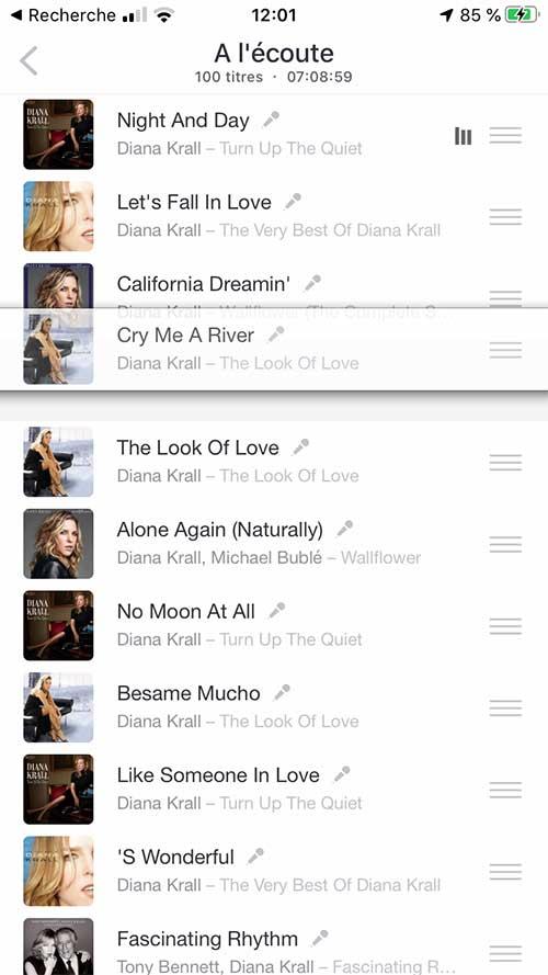 Utilisation de l'application Deezer et ses fonctions complètes dont la file d'attente en cours de lecture, écoute de la musique par l'AirPlay