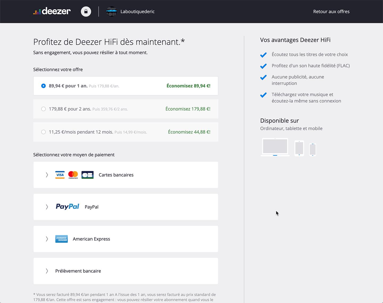 Choisir votre durée d'abonnement pour bénéficier de l'offre Deezer HiFi à 7,49 € par mois