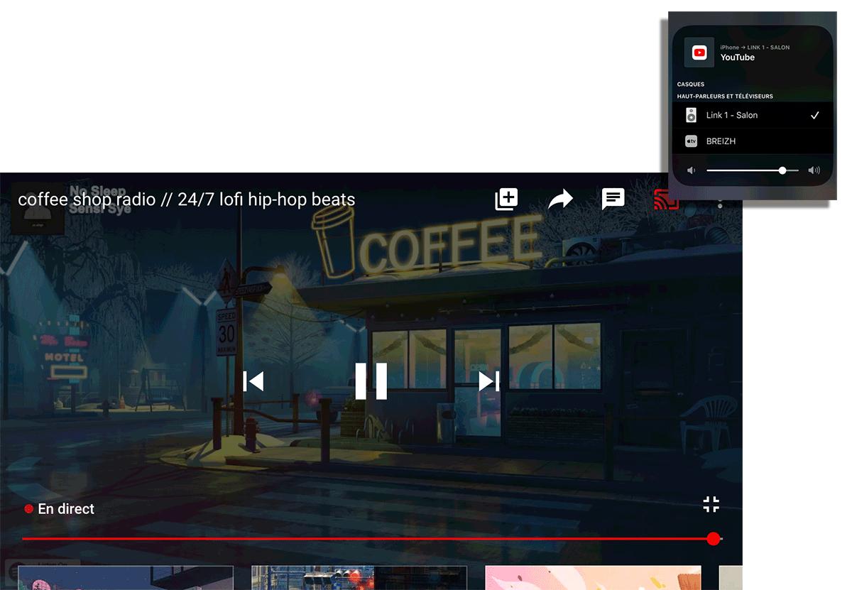 Diffusion de la bande sonore des vidéos YouTube, Netflix, Amazon Prime, MyCanal, etc vers la chaine HiFi par l'AirPlay du Link 1