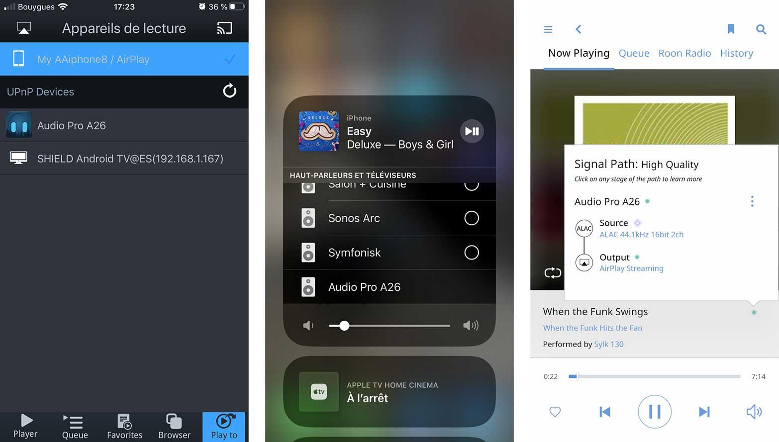 Les enceintes Audio Pro A26 se retrouvent entre autre dans mconnect, le menu AirPlay de l'iPhone ou encore Roon.