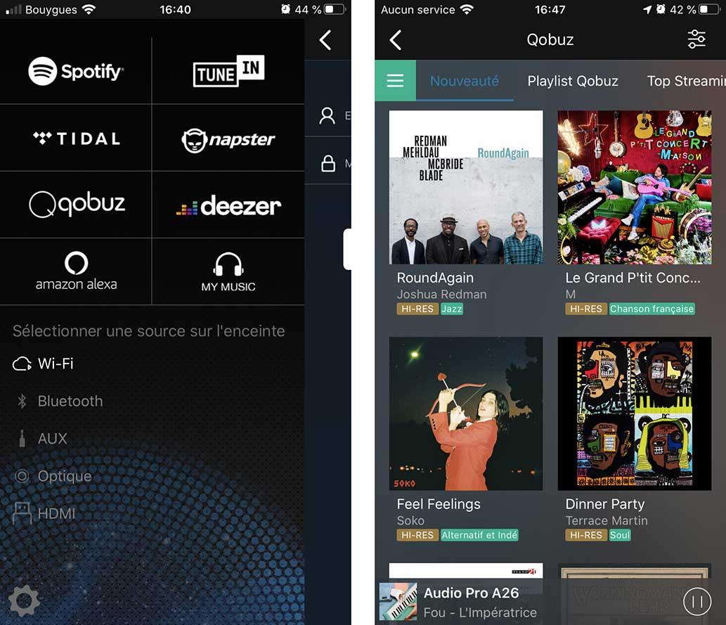 Une fois Qobuz ou tout autre service activé, vous retrouvez les menus habituels : nouveautés, playlists, favoris, etc.