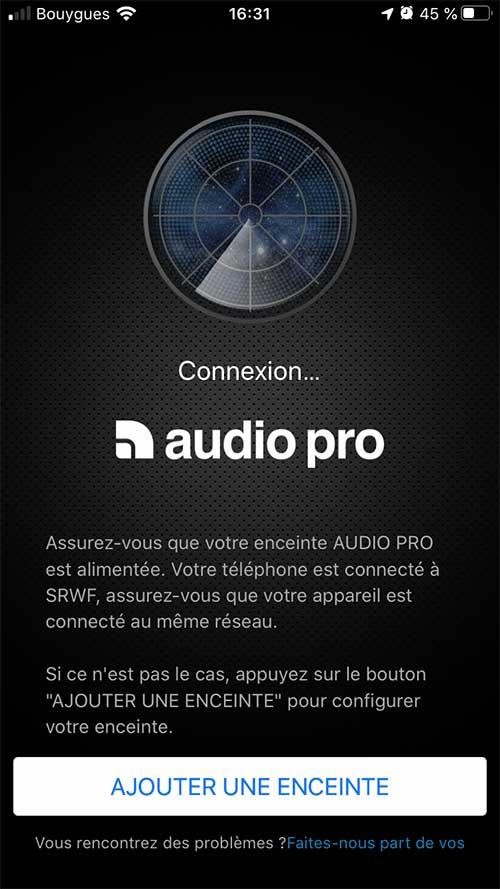 Lorsque vous lancez l'application Audio Pro, elle cherche les enceintes pas encore synchronisées.