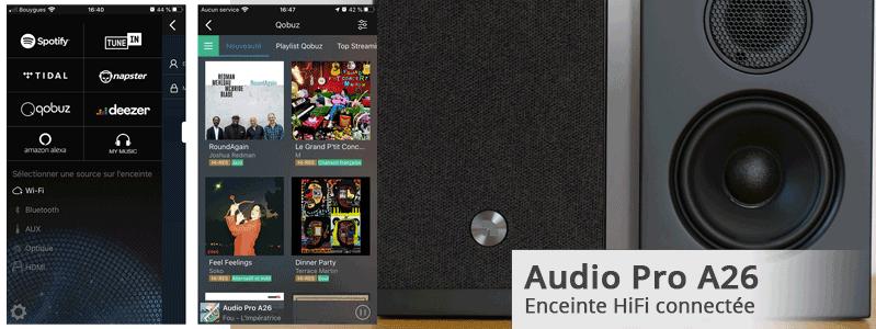 Test de la paire d'enceintes connectées WiFi, AirPlay et multiroom Audio Pro A26 avec entrée HDMI