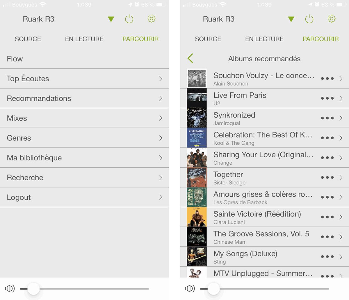 Lorsque Deezer est actif par exemple, l'écran « parcourir » liste toutes les fonctionnalités possibles du service musical.