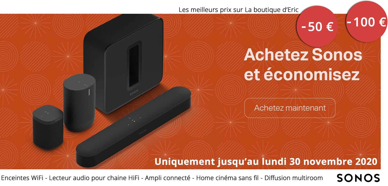Nos meilleurs prix et nos réduction sur la gamme d'enceintes WiFi et home cinéma Sonos