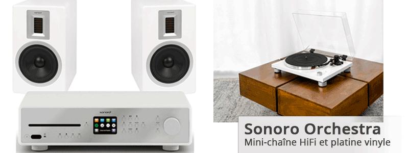 Mini chaîne HiFi Sonoro : Enceintes Orchestra, ampli Maestro et platine Patinum