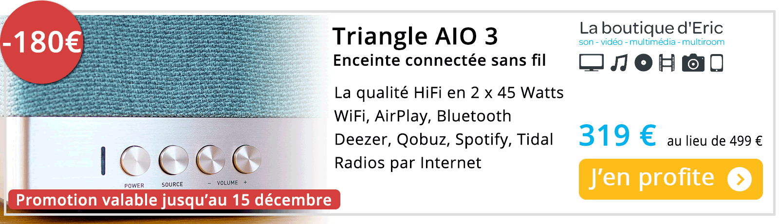 Enceinte HiFi active WiFi, AirPlay, Bluetooth Triangle AIO3