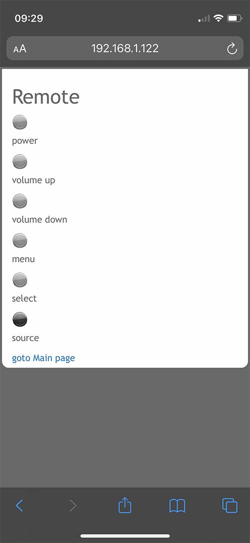 Les fonctions de la télécommande se retrouvent à l'identique sur l'interface web.