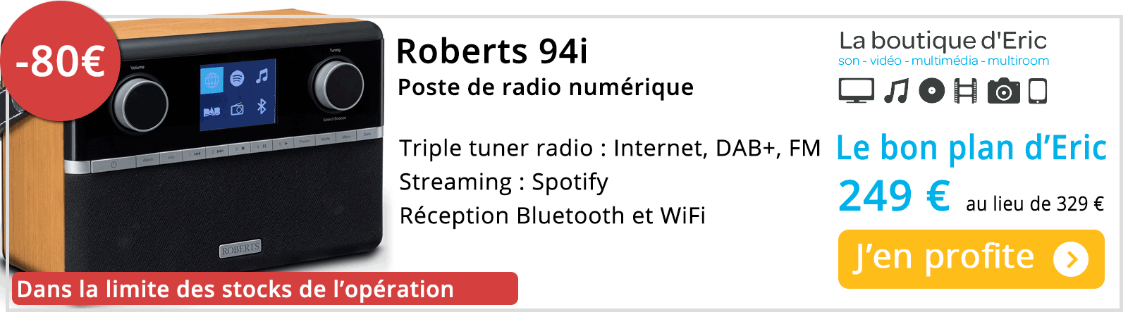 Poste de radio WiFi, Internet, DAB - promotion de La boutique d'Eric