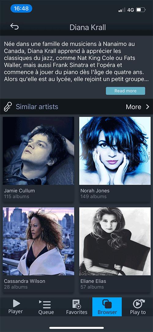 Qobuz dans l'application mconnect avec les suggestions d'artistes
