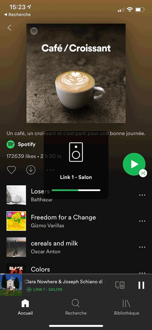 Lecture de Spotify sur un lecteur réseau