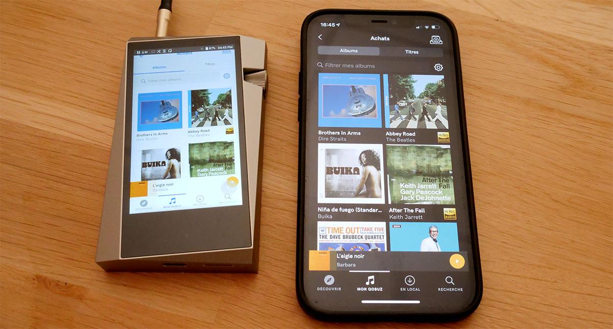 Comparaison de la taille du baladeur Astell & Kern SR25 et mon iPhone 12