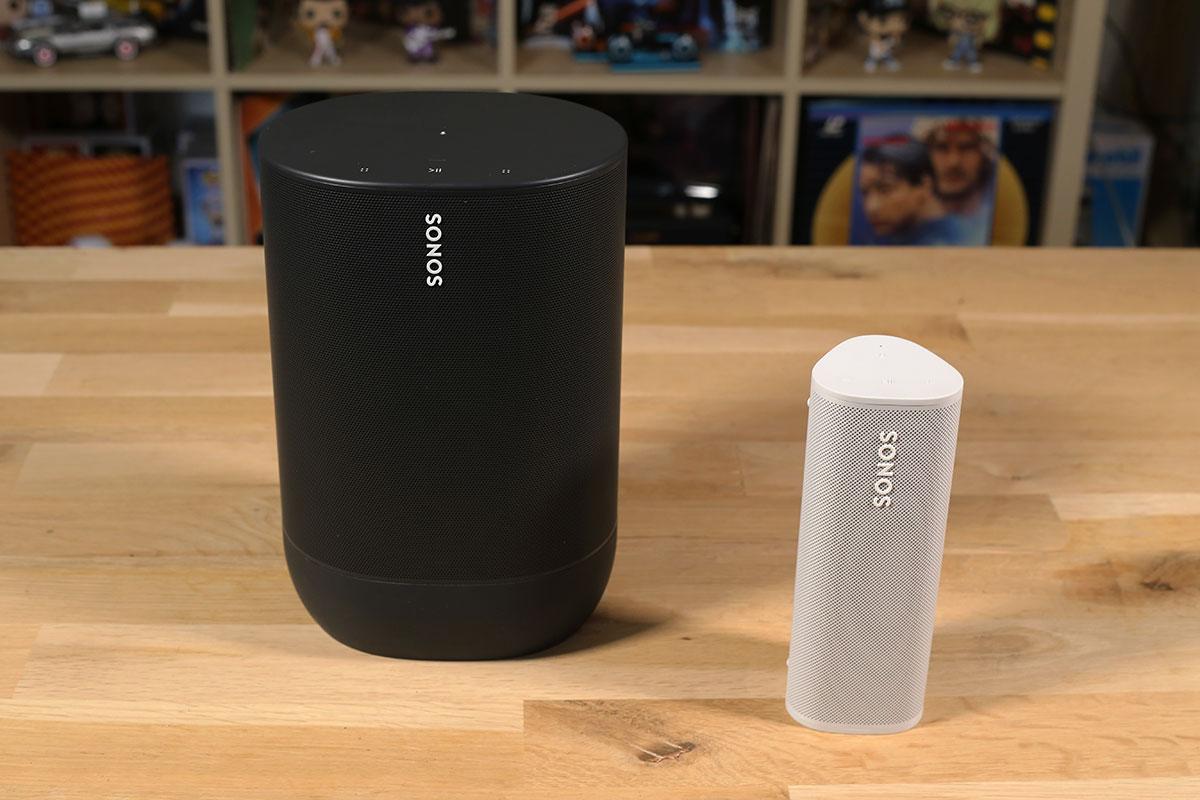Comparaison entre l'enceinte Sonos Move et Roam, deux modèles WiFi, AirPlay 2, Bluetooth, nomade et multiroom