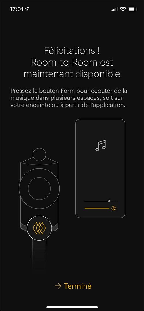 """À l'ajout de la second enceinte sur mon réseau, l'application me présente la fonction """"Room to Room""""."""