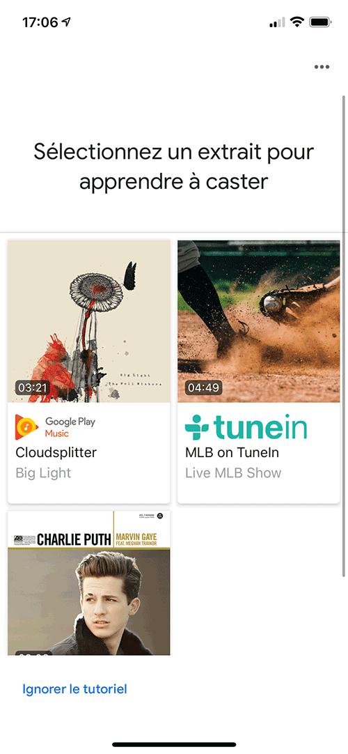 La dernière étape propose un tutoriel pour comprendre l'usage de Chromecast pour les applications musicales.