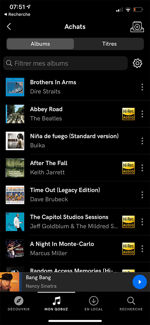 Sur mon compte Qobuz, les albums achetés et stockés dans le cloud