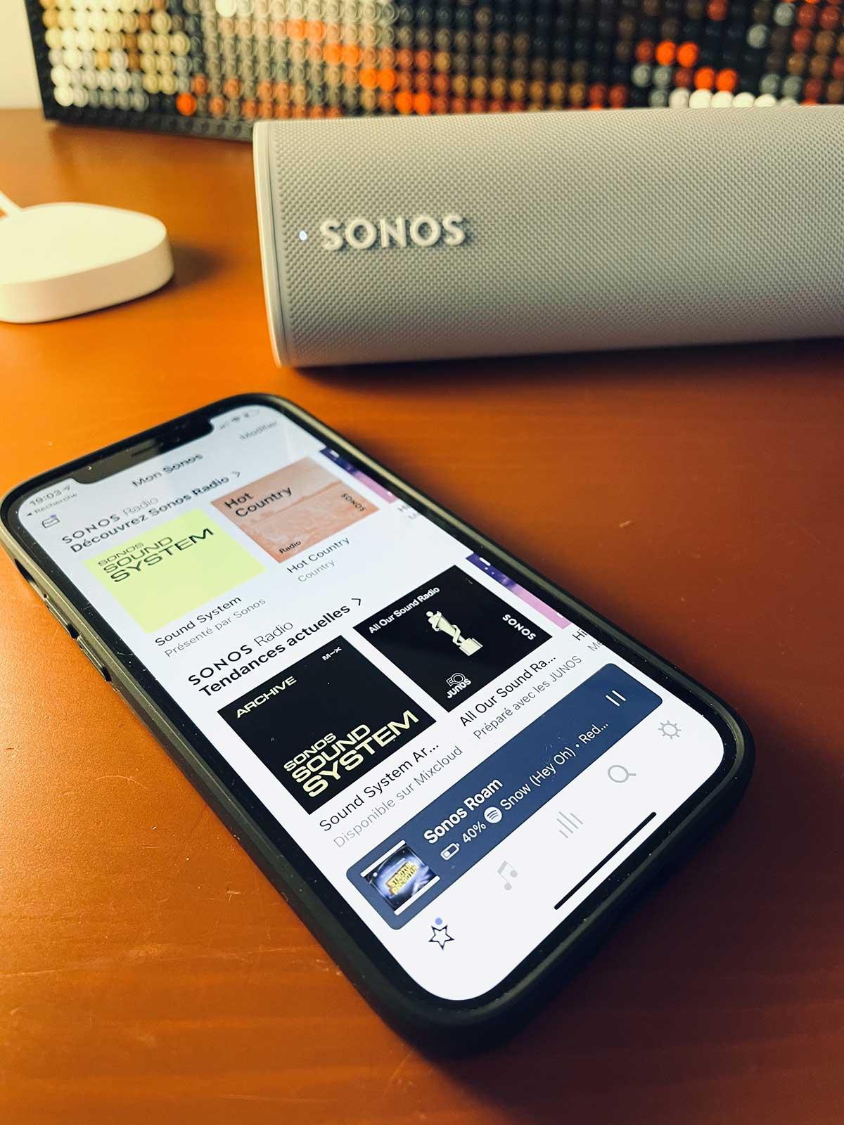 Mise en route de l'enceinte Sonos par l'application Sonos et le réseau WiFi