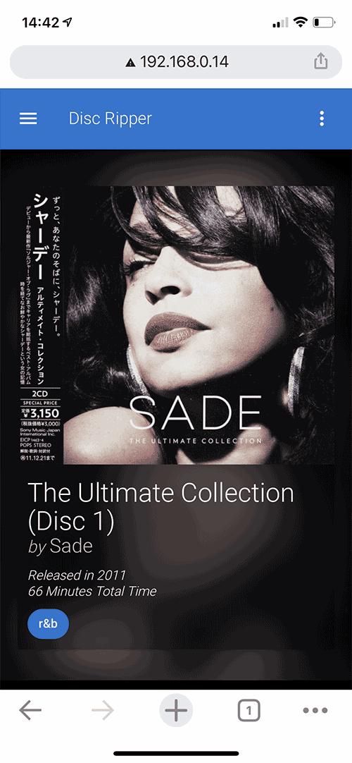 Le disque est identifié dès l'insertion par sa pochette, son titre, son interprète et ses pistes.