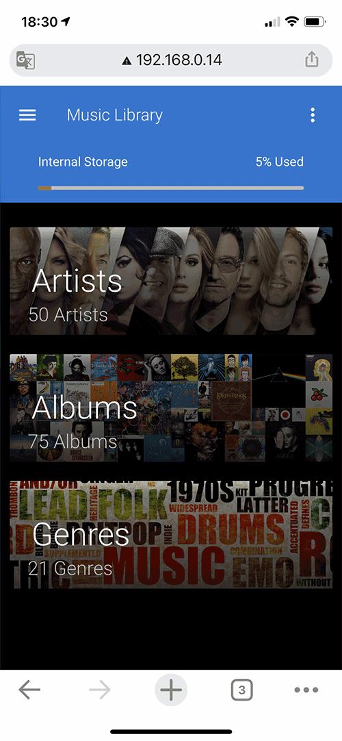 La bibliothèque musicale se gère par artistes, albums ou genres.