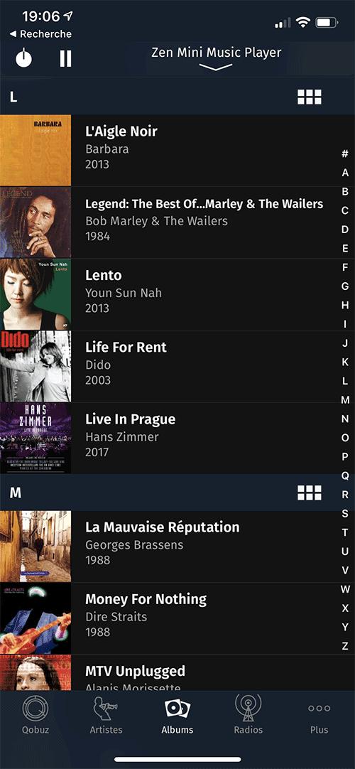 Navigation parmi la bibliothèque musicale du serveur ZENMini