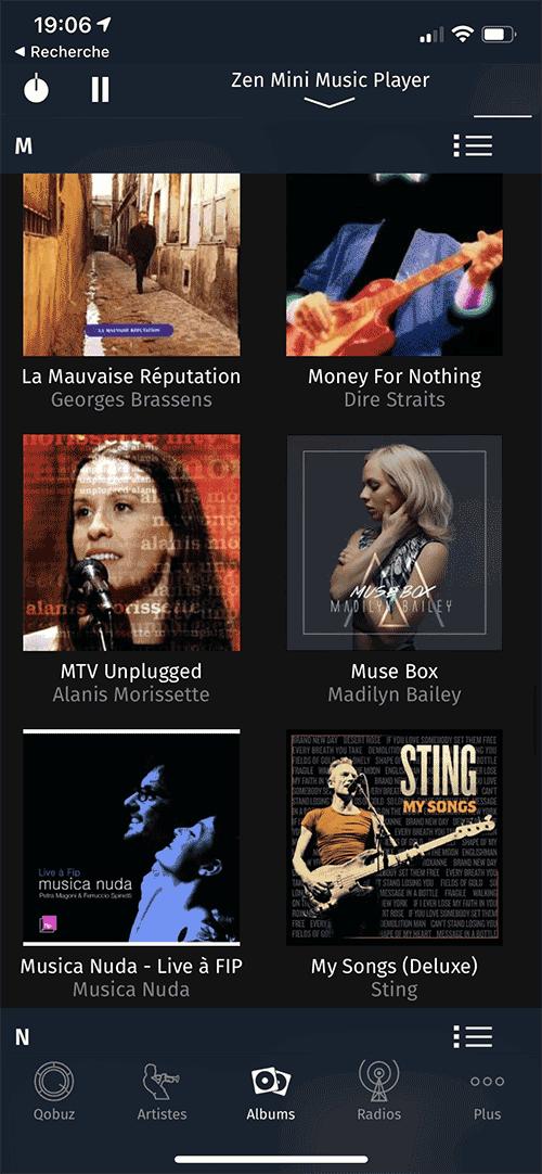 iPeng propose deux modes d'affichage pour les albums en liste ou en vignette.