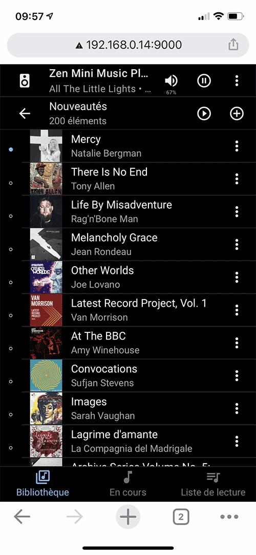 L'affichage des albums en liste.