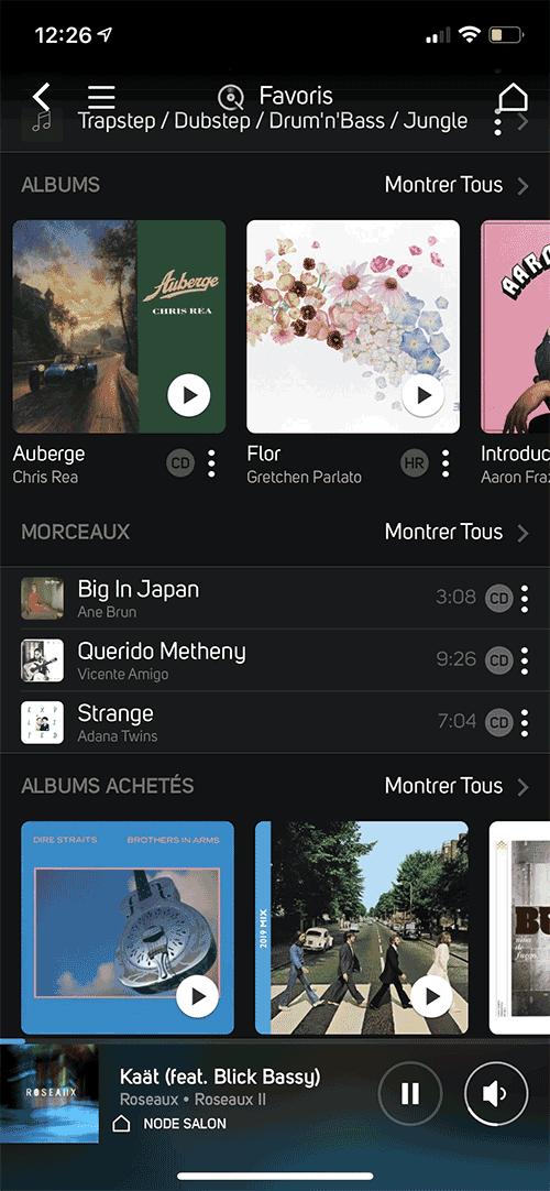 Tous les favoris de mon compte Qobuz directement dans l'appli BluOS.