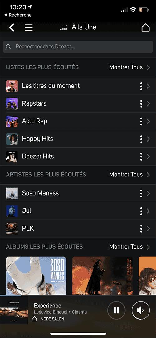 La totalité du service Deezer directement dans l'application BluOS.